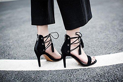Miss Gao Gen Sandalen fein mit Normallacklederband Sandelholzschuhen Wild Black
