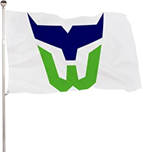 YAOSHUIGE Hart-Ford Whalers Logo Flag Vivid Color and UV Fade Resistant with Brass Grommets 3x5 Flag