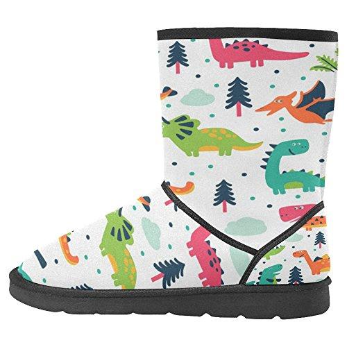 Snow Stivali Da Donna Di Interestprint Design Unico Comfort Invernale Stivali Dinosauri Divertenti In Cartoon Multi 1