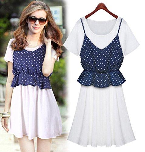 2015 Summer New Fashion Slim Big swing Chiffon Dress (S, blue)