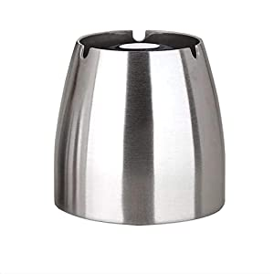 Ashtray ,Stainless Steel Unbreakable Modern Ashtray , Cigarette Ashtray for Indoor or Outdoor Use, Ash Holder for Smokers, Desktop Smoking Ash Tray for Home office Decoration, Silver,Large Size