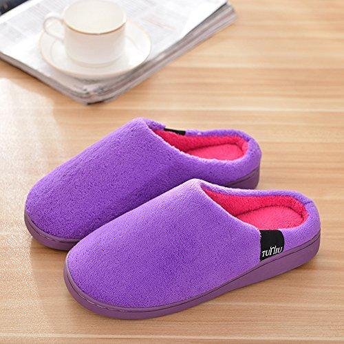 Para Mujer Zapatillas Damas Interior Plana Tacón Bajo Invierno Zapatillas Terciopelo Coral Púrpura