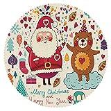 iPrint Eco-Friendly Round Tablecloth [ Christmas Decorations,Santa and Teddy Bear Vintage Christmas Ornaments Party Kids Nursery Decor,Multi ] Fabric Home Set