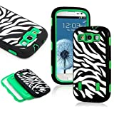 Galaxy S3 Case, S3 Case - SQDeal [ Shock Resistant Series ] 3in1 Hard Plastic + Soft Silicone Hybrid Rubber Case Cover for Samsung Galaxy S3 III i9300 (Zebra Black/Green)