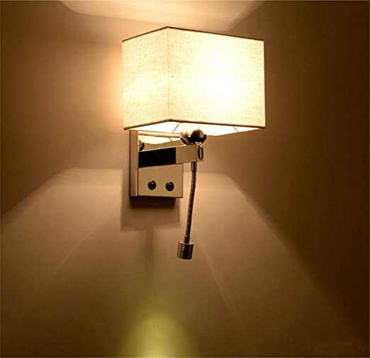 Hm wall lights modern led reading bedside stainless steel wall lamp and fabric lampshade and flexible