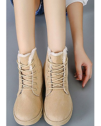 Maybest Femmes Daim Plate Plate-forme Sneaker Chaussures Hiver Lacets Bottes De Neige Beige
