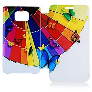WEV Butterly and Umbrella Pattern Leather Full Body Case for Samsung Galaxy S2 I9100