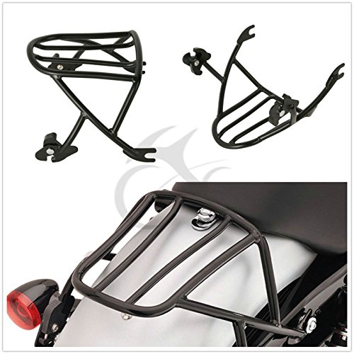 (TCMT Black Solo Detachable Luggage Rack Fits For Harley Sportster 1200 Iron 883 2004-2019)