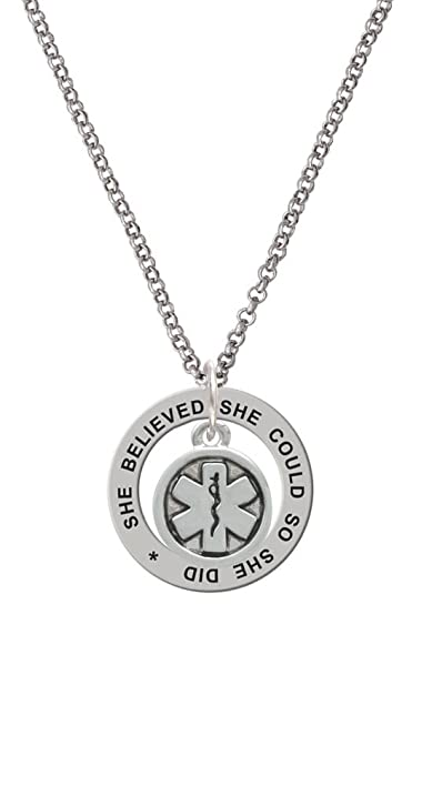 Amazon silvertone round emt star of life she believed she could silvertone round emt star of life she believed she could affirmation ring necklace 24quot aloadofball Image collections