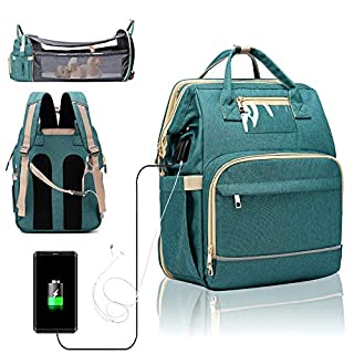 3 in 1 Travel Foldable Portable Baby Bed Waterproof Diaper Bag Mommy Backpack Changing Station with Sunshade, USB Charging Port and Headphone Port [2020 Premium Version](Green)