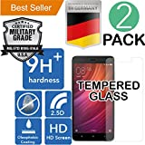 Xiaomi Redmi 4 & 4X [5.5] 2Pack [Tempered Glass] Screen Protector [9H+ Ballistic] HD [Case Friendly] Anti Scratch [Bubble Free] Laser Cut [Oleophobic] Shatter Proof [Easy Install] High Definition