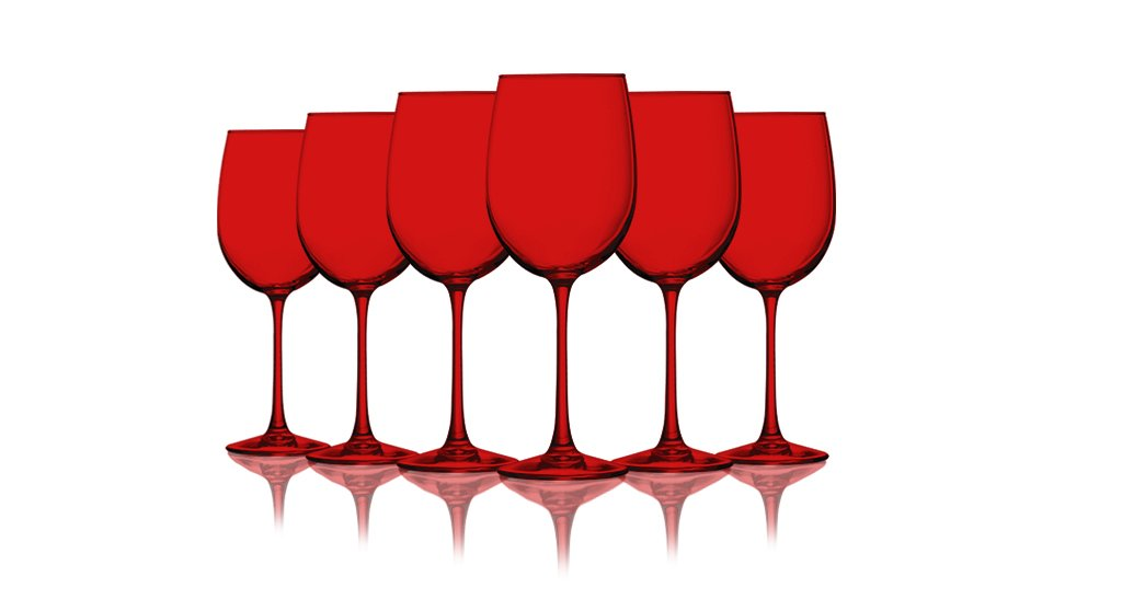 Christmas Tablescape Décor - Red colored cachet crystal wine glasses - Set of 6