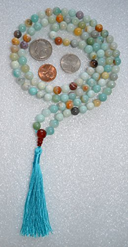 8MM, AMAZONITE, HANDMADE, PRAYER BEADS, JAPA MALA, BEADS, NECKLACE – KARMA (108+1) BEADS. BLESSED & ENERGIZED BEST GRADE GENUINE QUALITY HINDU TIBETAN BUDDHIST SUBHA ROSARY FOR VITALITY, NIRVANA, BHAKTI, FOR REMOVING INNER DOSHAS, FOR CHANTING AUM OM, FOR AWAKENING CHAKRAS, KUNDALINI THROUGH YOGA MEDITATION-FREE MALA POUCH – USA SELLER