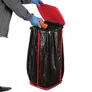 portable trash bag holder with lid red patio lawn garden. Black Bedroom Furniture Sets. Home Design Ideas