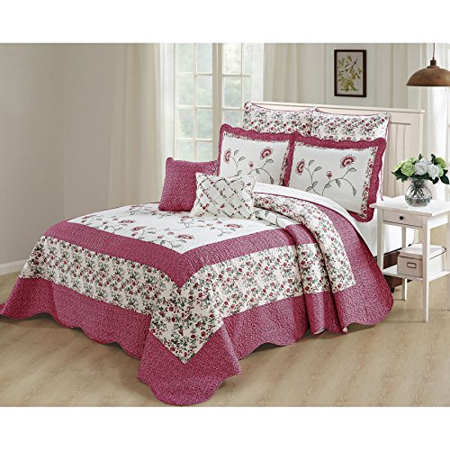 Serenta Bedspread Coverlet Oversized Saigon 7 Piece Set, Queen, Pink