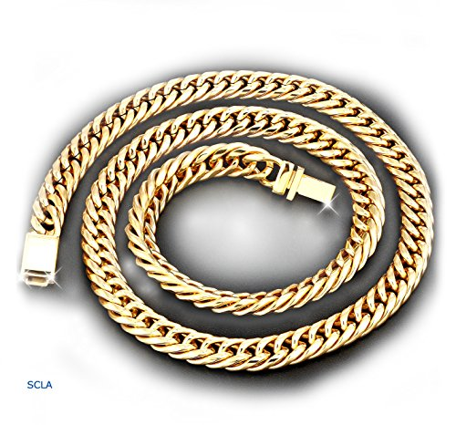 Gold-chain-necklace-9MM-24K-Diamond-cut-Miami-Cuban-Link-with-a-warranty-USA-made