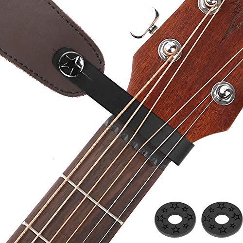 Guitar Strap Locks Acoustic Guitar Strap Button Leather Headstock Adapter Strap Lock Button, Top Grade,Black