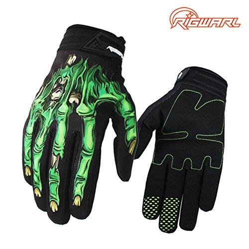 RIGWARL Full-Finger Motocross Gloves Skeleton Bones Motorcycle Gloves for Men Women Non-Slip andResistance to Abrasion for Biking Cycling Climbing Hiking (Green, Medium)