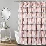Blush Pink Shower Curtain Lush Decor 16T002873 Lace Ruffle Shower Curtain, 72