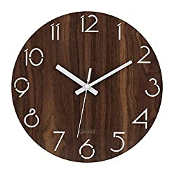 MixArt 12 inch Silent Non-Ticking Wooden Rustic Wall Clock Digital Quiet Sweep Decorative Vintage Country Tuscan Style (Battery Operated, Hollow Arabic Numerals Design)