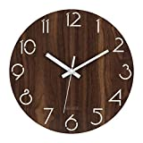 MixArt 12 Inch Silent Non-Ticking Wall Clock Digital Quiet Sweep Decorative Vintage Rustic Country Tuscan Style Wooden Clocks (Battery Operated, Hollow Arabic Numerals Design)