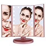 Lighted Makeup Mirror,Trifold Touch Screen 22 LED Lights 1X/2X/3X/10X Magnification Cosmetic Mirror with 180 Degree Free Rotation Table Countertop for Cosmetic Makeup,Rose Gold