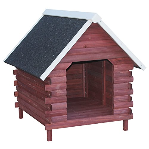 PawHut Wooden Log Cabin Elevated Outdoor Dog House with A-Frame Roof (Log Rustic Deck)