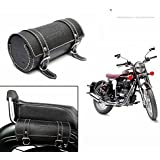 Dios Bike Leatherette Back Seat Saddle Bag Black- Royal Enfield / Avenger / Bullet