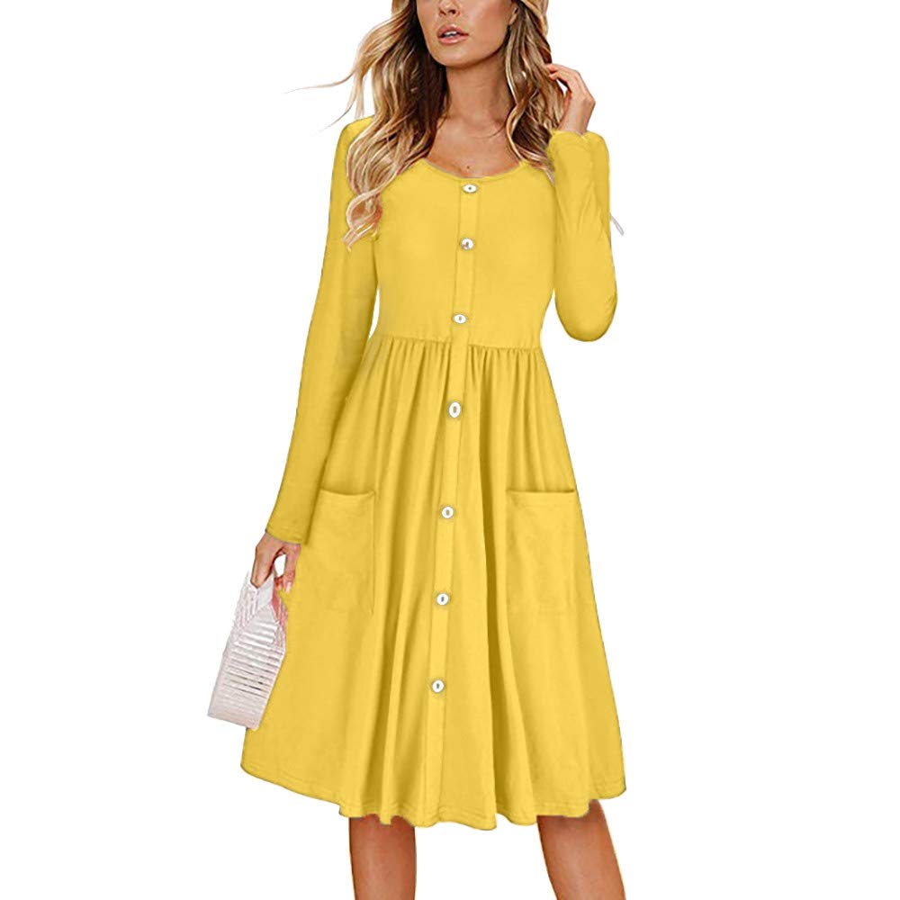 JESPER Women Solid O Neck Button Dress Long Sleeve Pocket Casual Beach Long Maxi Dress US 4/6 Yellow