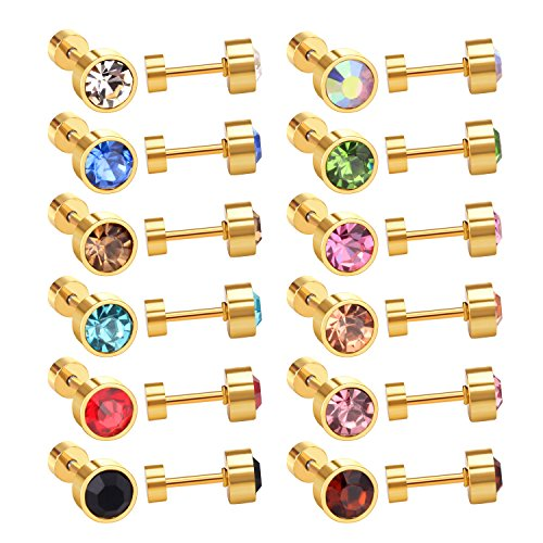 LUXU kisskids 12 Pairs 6MM Multi Colour CZ Stainless Steel Anti-Allergic Plug Stud Earrings in Gold