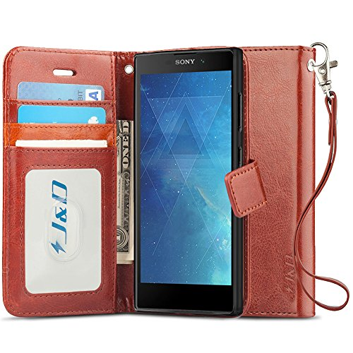 J&D Case Compatible for Xperia L2 Case, [Wallet Stand] [Slim Fit] Heavy Duty Protective Shock Resistant Flip Cover Wallet Case for Sony Xperia L2 Wallet Case - [NOT for Sony Xperia L1] - Brown (Sony Xperia J Case)
