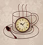 ZHENAI Coffee Cup Wall Clock Fashion Metal Retro Handmade Backdrop Clocks And Watches Office