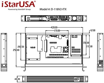 Black iStarUSA D Value D-118V2-ITX 1U Rackmount Mini-ITX Server Chassis