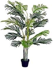Outsunny Palma Artificial 150cm con Cañas Naturales Árbol Planta Decorativa Sintética con Maceta Casa Terraza Jardín Decoración
