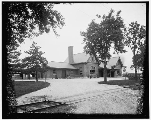 Photo: Chicago & North Western Railway station, C & NW, Lake Forest, Illinois, IL, c1900 1 . Size: 8