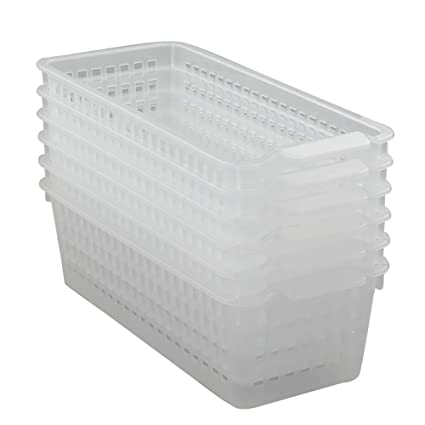 729804c28148 Qsbon Clear Small Plastic Pencil Storage Baskets, Pack of 6
