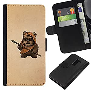 KingStore / Leather Etui en cuir / LG G2 D800 / Bea Caveman Arte Daga Marrón Pintura Divertido