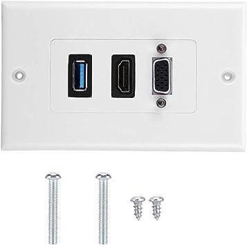 garsent Socket de Pared USB, 3 en 1 3 Puertos VGA HDMI USB3.0 Socket Panel de Montaje en Pared Audio Video Módulo Compuesto.: Amazon.es: Electrónica