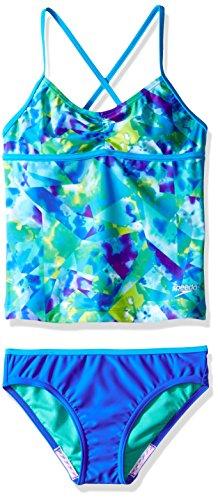 Speedo Girls Tie Dye Sky Two Piece Tankini Set, Size 12, Blue