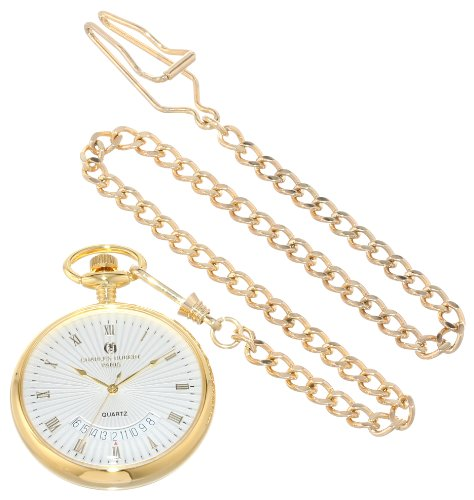Charles-Hubert, Paris Gold-Plated Open Face Quartz Pocket Watch