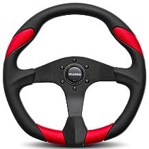 Momo QRK35BK0R Quark Red 350 mm Urethane Steering Wheel by MOMO