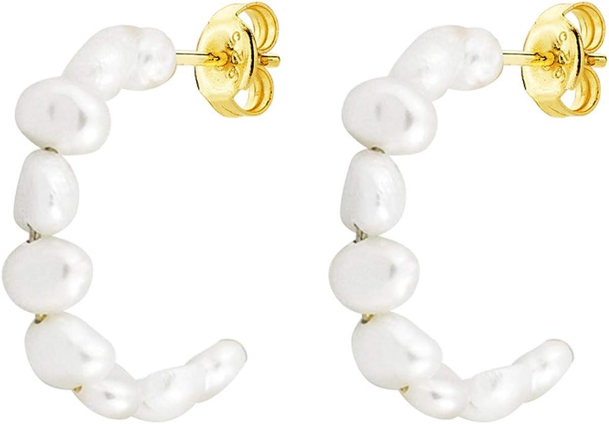 Iyé Biyé Jewels - Pendientes Aros Perlas 20 mm Mujer Niña Plata de Ley 925 Bañada Oro Amarillo Cierre Presión