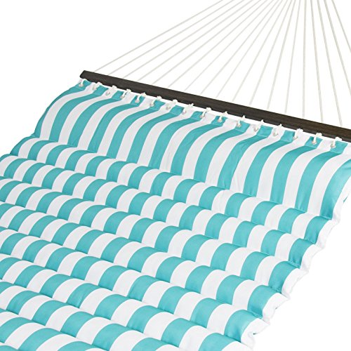 Trendy Deluxe Double Two Person Pillow Top Hammock Extra Comfort Teal White Stripe Add style and comfort to your patio with this vibrant - Lauderdale In Fort Shopping