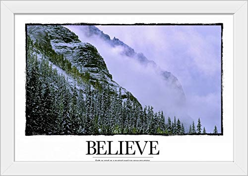 CANVAS ON DEMAND Believe: Faith as Small as a Mustard Seed can Move Mountains. White Framed Art Print, 27