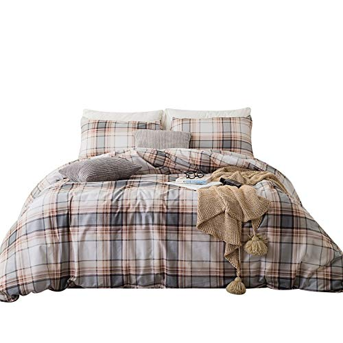 (SUSYBAO 3 Piece Duvet Cover Set 100% Natural Cotton Queen Size Gray and Khaki Tartan Bedding Set with Zipper Ties 1 Ivory Plaid Stripe Duvet Cover 2 Pillowcases Hotel Quality Soft Breathable Durable)