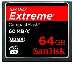 SanDisk Extreme CompactFlash 64 GB Memory Card 60MB/s, SDCFX-064G-X46 (Black)