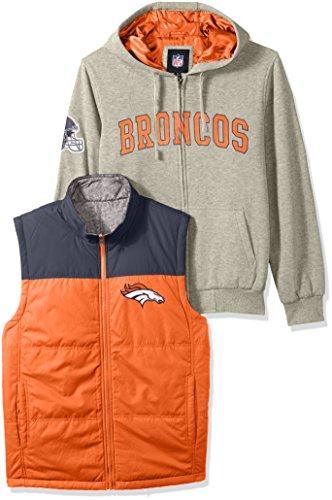 NFL Denver Broncos Men's 3-in-1 Fleece Full Zip Systems Jacket, Medium, Heather (Bronco Vest)