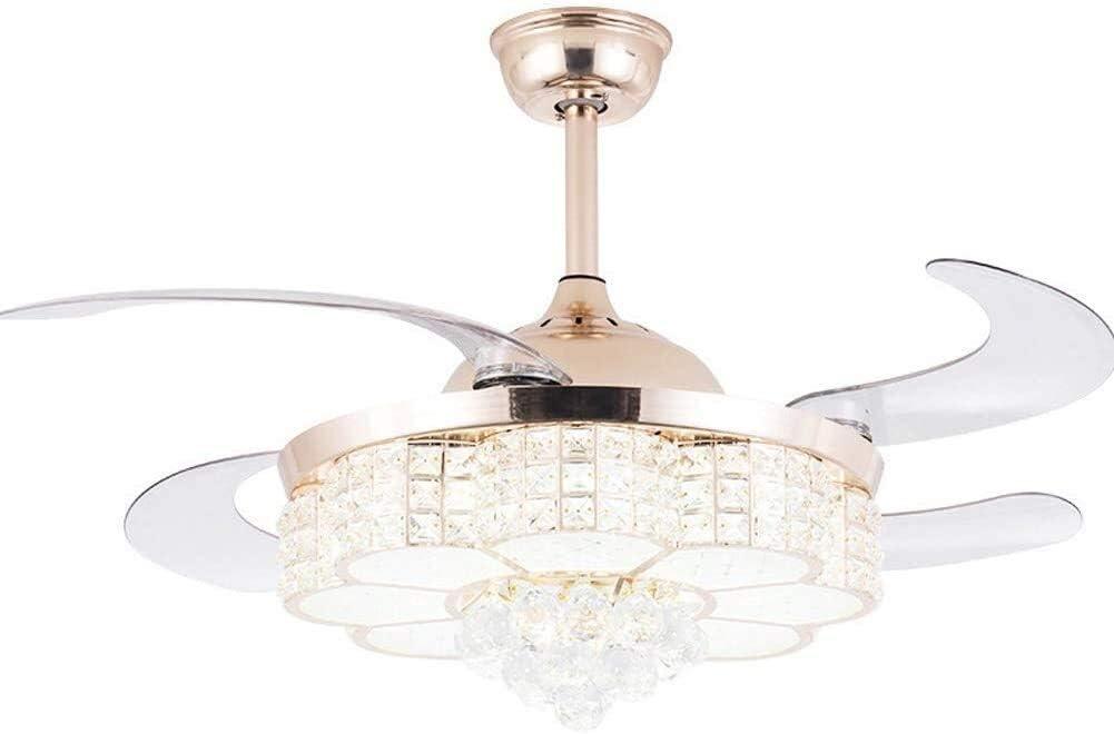 HYH Ventilador de cristal de la lámpara de techo retráctil moderna invisible de luz LED de 3 Cambio de luz 3 Ajuste de la velocidad del ventilador de control remoto Silencio Ventilador de techo con la