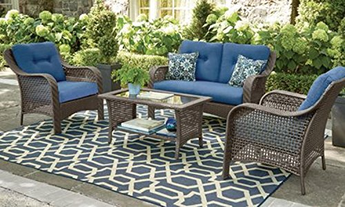 Patio Furniture Set. Soft and Durable Cushioning Patiotrends Tuscany 4-Piece Conversation Patio Furniture Set Made of Heavy-duty Steel Frame and All-weather Wicker (Blue)