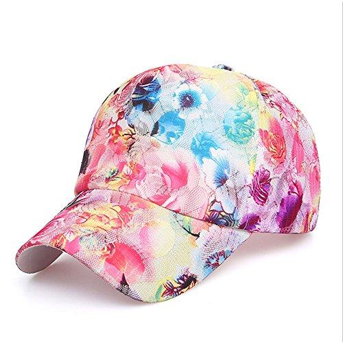 Ren He キャップ 春夏 レースフラワーキャップ おしゃれ キャップ 野球 ゴルフ 登山 旅行 帽子 サイクリング キャップ (1, ポリエステル)
